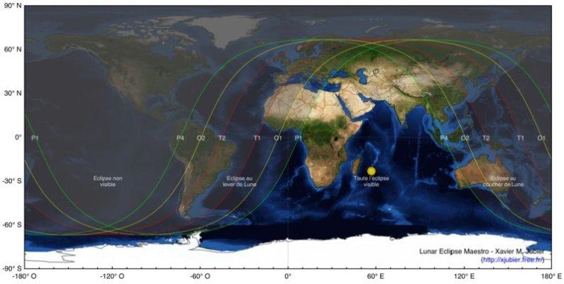 Carte de l'éclipse de Lune du 15 juin 2010