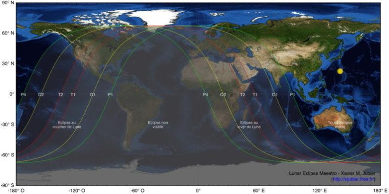 Carte de l'éclipse de Lune du 10 décembre 2010