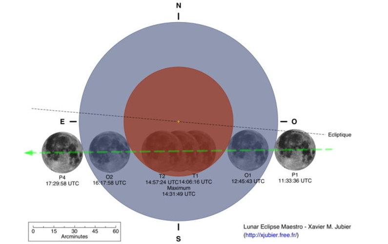 Eclipse totale de Lune le 10 décembre 2011