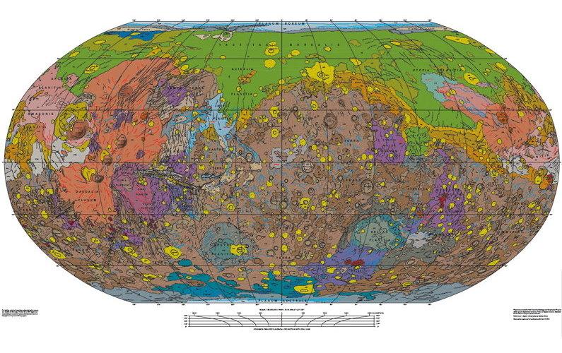 USGS publie une nouvelle carte géologique de Mars