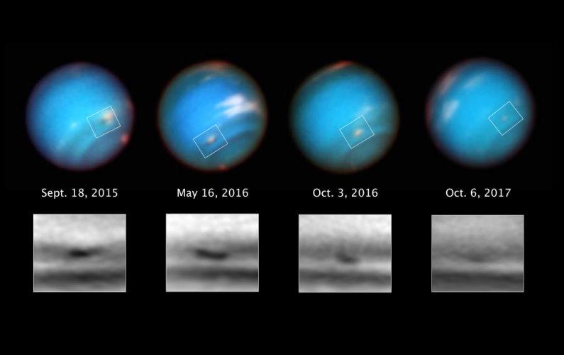 Hubble observe la disparition d'une tempête sur Neptune