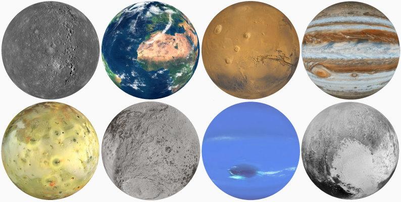 Les globes des astres du système solaire