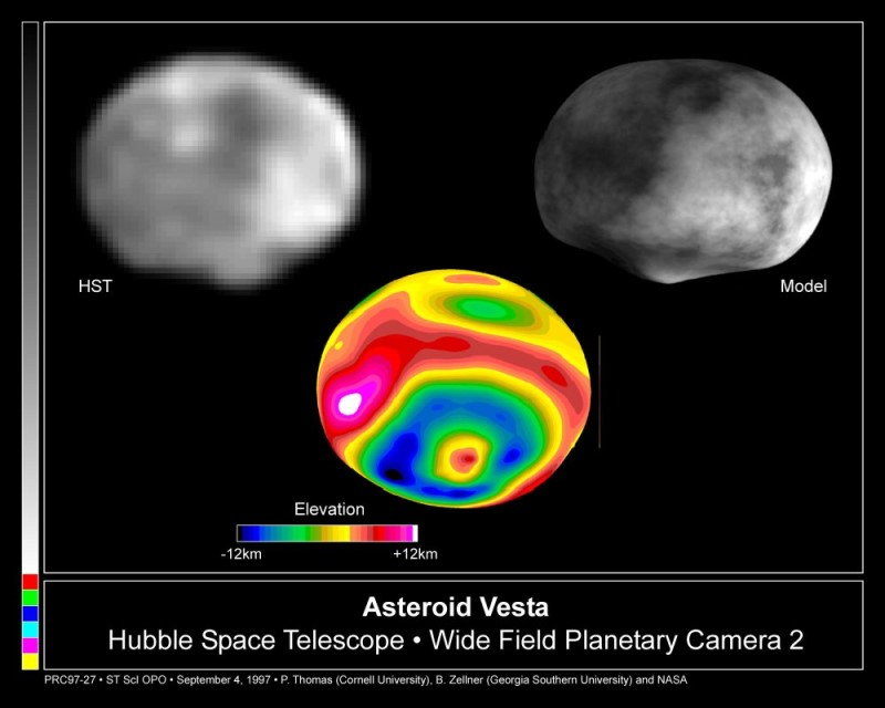 Vesta vu par le téléscope spacial Hubble