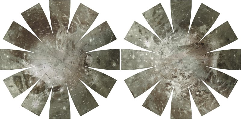 Carte de Ganymède vu des pôles