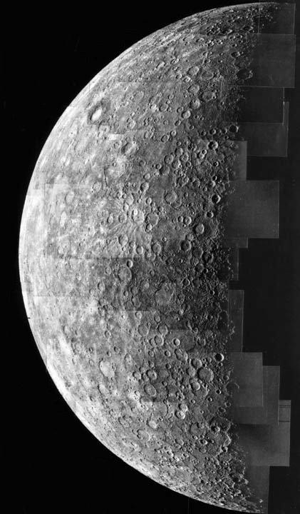 Une mosaïque de photos de Mercure, prises par Mariner 10