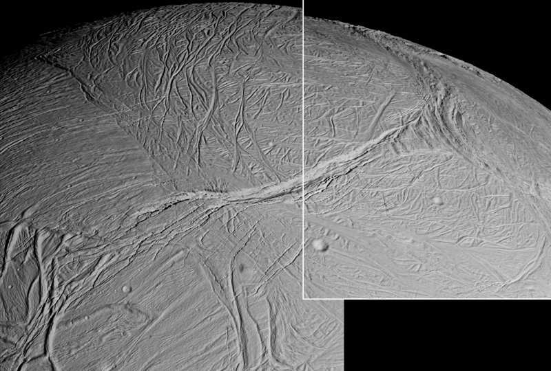 Failles sur la surface d'Encelade