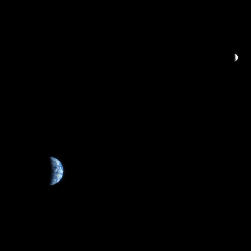 La Terre et la Lune depuis Mars